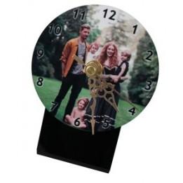Horloge de table MDF ronde sur socle noir