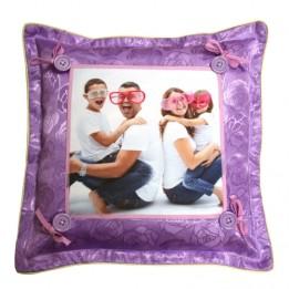 Housse de coussin satinée violette format 38 x 38 cm
