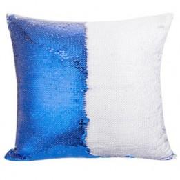 Housse de coussin bleu royal 40 x 40 cm à sequins réversibles blancs pour sublimation (vendu à l'unité)