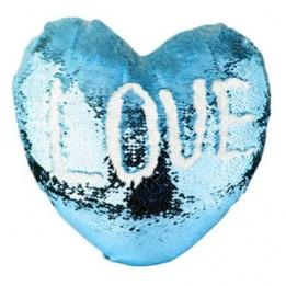 Housse de coussin coeur bleu ciel 39 x 44 cm à sequins réversibles blancs pour sublimation (vendu à l'unité)