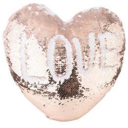 Housse de coussin coeur champagne 39 x 44 cm à sequins réversibles blancs pour sublimation (vendu à l'unité)