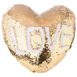 Housse de coussin coeur or 39 x 44 cm à sequins réversibles blancs pour sublimation (vendu à l'unité)