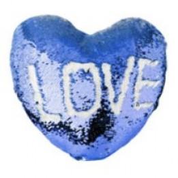 Housse de coussin coeur bleu royal 39 x 44 cm à sequins réversibles blancs pour sublimation (vendu à l'unité)