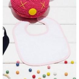 Bavoir éponge blanc pour bébé avec bordure couleur K833