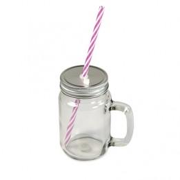 Tasse Mason Jar en verre extérieur clair avec anse, couvercle et paille (vendu à l'unité)