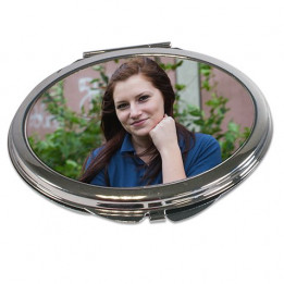 Miroir de poche rectangulaire coloris or rose aux bords arrondis (vendu à l'unité)