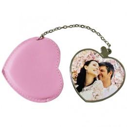 Miroir coeur avec étui rose personnalisable en sublimation