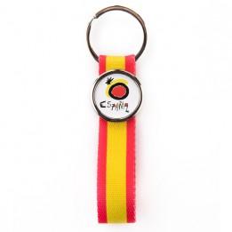"""Lot de 100 porte-clés lanière tissu couleur """"Espagne"""" MR25-TS avec marquage rond"""