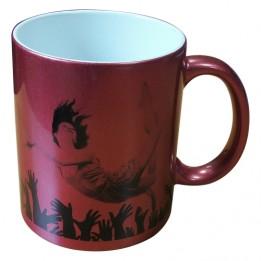 Mug coloris rouge pourpre effet pailleté pour sublimation ou marquage laser