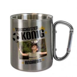 Mug en inox Ø 8 cm hauteur 9 cm avec mousqueton argent (vendu à l'unité)