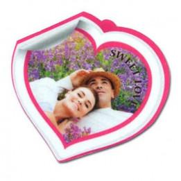 Ornement coeur en feutrine blanche 7,8 x 7,5 cm épaisseur 3 mm (vendu à l'unité)