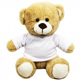 Peluche Ours brun clair H 18 cm avec mini tee-shirt pour sublimation