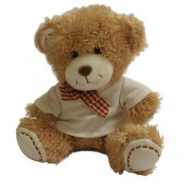 Peluche ours brun avec mini tee-shirt