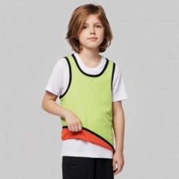Chasuble enfant sportif réversible 100% polyester biais élastiqués- 2 tailles - 4 coloris