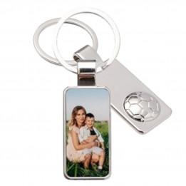 Porte-clé en métal luxe rectangle avec ballon de foot 2,2 x 5,5 cm (vendu à l'unité)