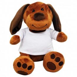 Peluche Chien marron H 18 cm avec mini tee-shirt pour sublimation
