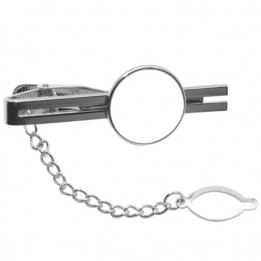 Pince à cravate en métal argent 5 x 2 cm avec plaque ronde sublimable (vendu par 2 pièces)