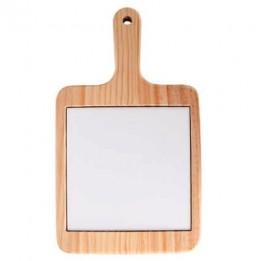 Plateau à fromage en bois naturel avec carrelage carré 15 x 15 cm (vendu à l'unité)