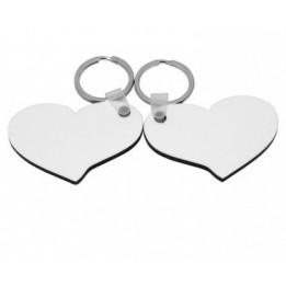 Porte-clé en MDF blanc brillant 2 coeurs