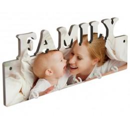 Panneau porte-clés mural FAMILY MDF 27,5 x 10 cm avec 5 crochets