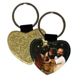 Porte-clé en simili cuir forme coeur 4,3 x 5,1 cm avec face dos glitter or (vendu à l'unité)