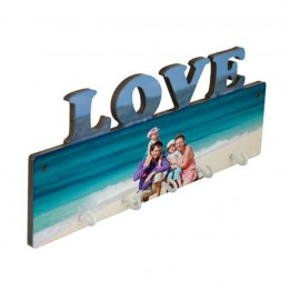 Panneau porte-clés mural LOVE MDF 27,5 x 10 cm avec 5 crochets