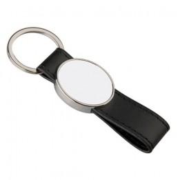 Porte-clé en simili cuir 3,2 x 10,2 cm avec plaque aluminium ovale (vendu par 2 pièces)