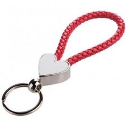 Porte-clé tressé rouge 13 x 3,3 cm avec plaque sublimable coeur (vendu par 2 pièces)