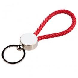 Porte-clé tressé rouge 13 x 3,3 cm avec plaque sublimable ronde (vendu par 2 pièces)