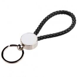 Porte-clé tressé noir 13 x 3,3 cm avec plaque sublimable ronde (vendu par 2 pièces)