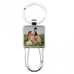 Porte-clé en métal luxe carré avec mousqueton 3 x 7 cm (vendu à l'unité)