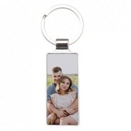 Porte-clé en métal luxe rectangle 2,4 x 6,5 cm (vendu à l'unité)
