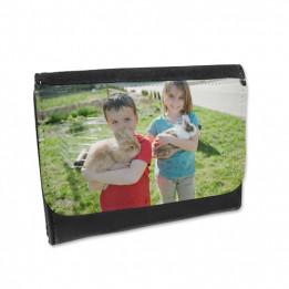 Portefeuille noir en cuir synthétique 135 x 100 mm (vendu à l'unité)