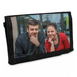 Portefeuille noir en toile fermeture velcro 130 x 90 mm (vendu à l'unité)