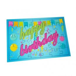 Puzzle MDF blanc brillant Happy Birthday