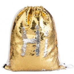 Sac à dos coloris or 36 x 45 cm à sequins réversibles argentés pour sublimation (vendu à l'unité)