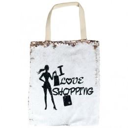 Sac shopping à sequins 34 x 40 cm tissu chanvre - Or rose / Blanc (vendu à l'unité)