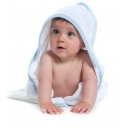Sortie de bain TC36 en éponge pour enfants avec capuche et bords colorés