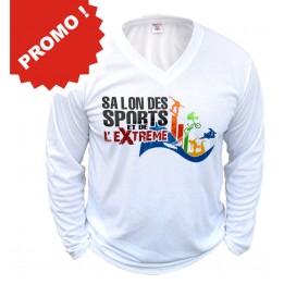 Tee-shirt manches longues col V 100% polyester 190 gr/m² taille XL (vendu à l'unité)