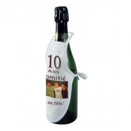 Mini tablier de bouteille en tissu blanc 100% polyester 17 x 28 cm