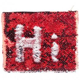 Trousse coloris rouge 20,5 x 16 cm à sequins réversibles argentés pour sublimation (vendu à l'unité)
