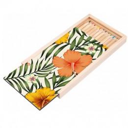 Boite à crayon en bois 19 x 10,5 x 1,7 cm avec plaque HDF personnalisable