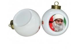 Boule de Noël Ø6,5 cm coloris blanc à suspendre avec plaque sublimable