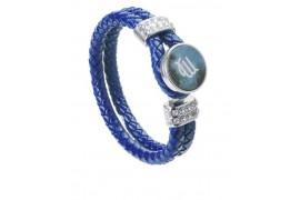 Bracelet tressé en cuir bleu avec plaque aluminium Ø 18 mm