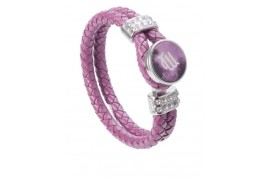 Bracelet tressé en cuir rose avec plaque aluminium Ø 18 mm