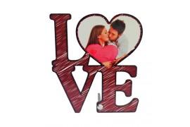 Cadre photo LOVE en MDF 17,6 x 20 cm pour sublimation (vendu à l'unité)