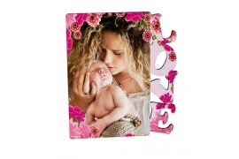 Cadre photo blanc brillant MDF LOVE 15,25 x 17,78 cm (vendu à l'unité)