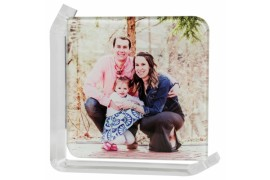 Cadre photo en verre lisse support transparent 12,5 x 12,5 cm