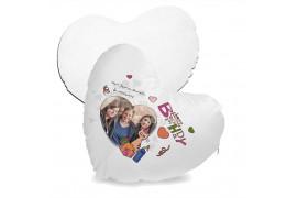 Housse de coussin coeur blanche non satinée 40 x 44 cm avec garniture (vendu à l'unité)