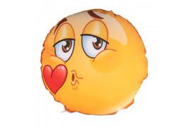Housse de coussin Smiley Kiss ronde et blanche Ø 40 cm (vendu à l'unité)
